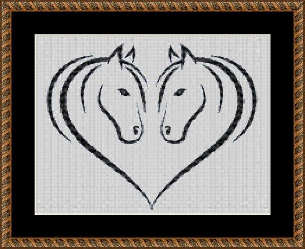 M2009 - konie odbicie odcienie szarości, wzór do haftu