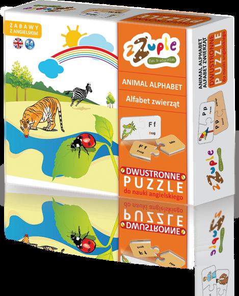 zZuple. Animal Alphabet. Dwustronne puzzle do nauki języka angielskiego: Alfabet zwierząt