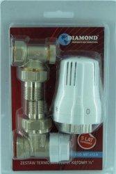 Zestaw termostatyczny DIAMOND głowica zawory kątowe