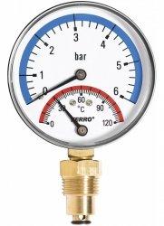 Termomanometr 80mm 1/2 0-6 bar 120°C radialny (boczny)