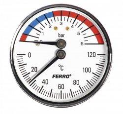 Termomanometr 63mm 1/2 0-6 bar 120°C axialny (tylny)
