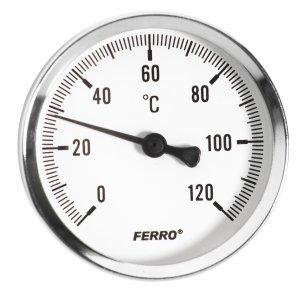 FERRO Termometr 63 mm 1/2 120°C axialny (tylny)