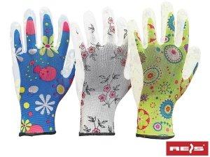 Rękawice ogrodowe damskie PU R-8 3 pary