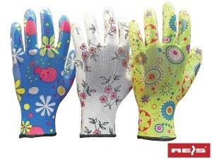 Rękawice ogrodowe damskie nitrylowe R-8 3 pary