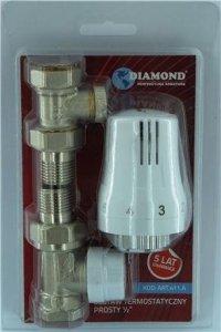 Zestaw termostatyczny DIAMOND głowica zawory proste