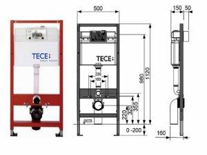 Stelaż podtynkowy TECE H112 do WC +wsporniki