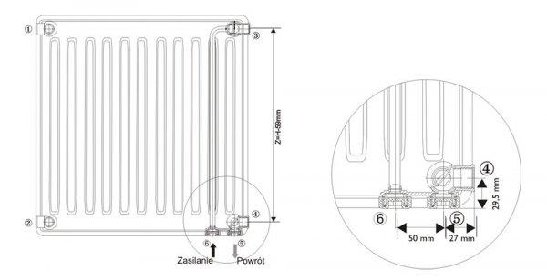 Grzejnik stalowy Brugman VK22 600x500