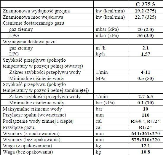 Podgrzewacz wody Euroterm C275 SEI GAZ LPG
