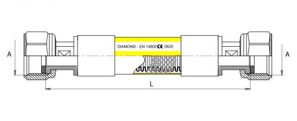 Diamond przewód przyłączeniowy do gazu 1/2 ww, 150cm