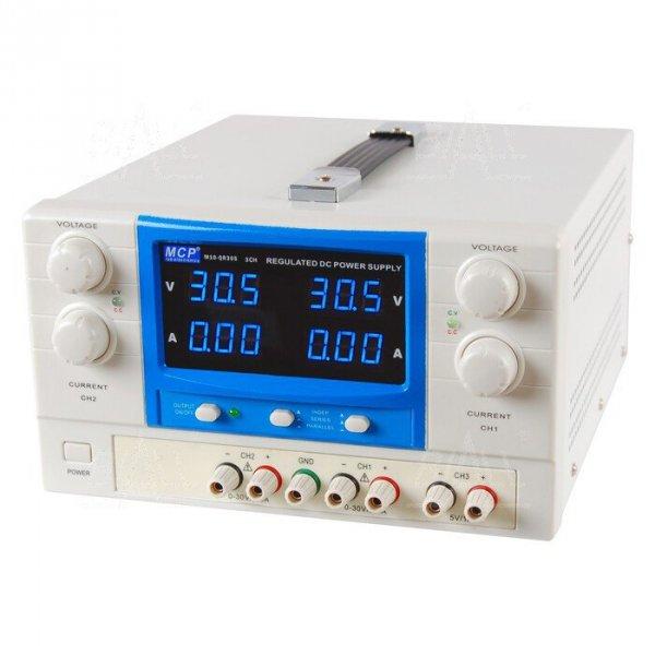 Zasilacz lab QR305 DC 2x30V/5A 5V/1A do pracy ciągłej MCP