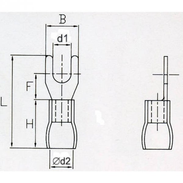 KWB5S Końcówka widełkowa izol. M5 100szt