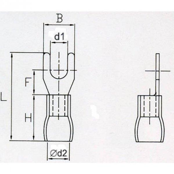 KWR5S Końcówka widełkowa izol. M5 100szt