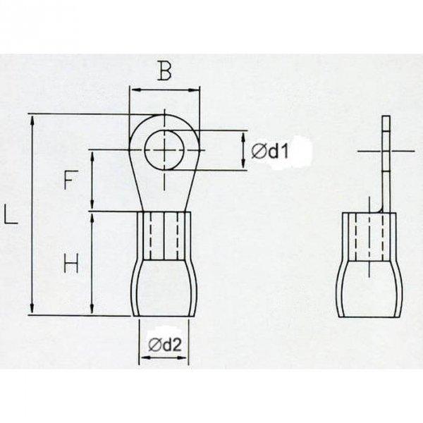 OKR5 Końcówka oczkowa izol. M5 100szt