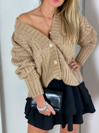 SWETER rozpinany ELIZE light brown
