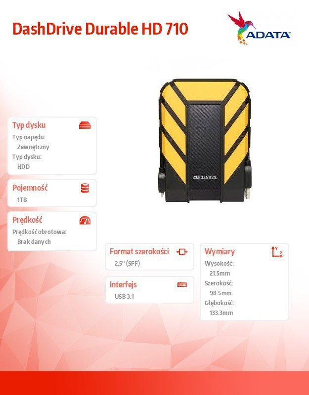Adata DashDrive Durable HD710 1TB 2.5'' USB3.1 Żółty
