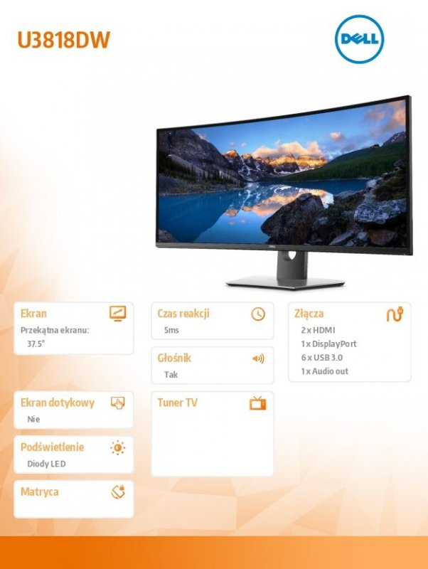Dell Monitor 37,5 U3818DW  Curved InfinityEdge WQHD+ (3840 x 1600)  /21:9/2xHDMI/DP/6xUSB/USB-C/3Y PPG