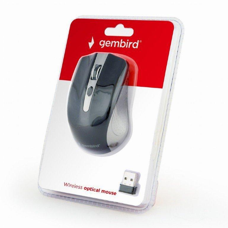 Gembird Bezprzewodowa mysz optyczna szaro-czarna