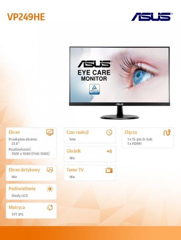 Asus Monitor 24 VP249HE 23.8'' FHD IPS 5ms VGA HDMI