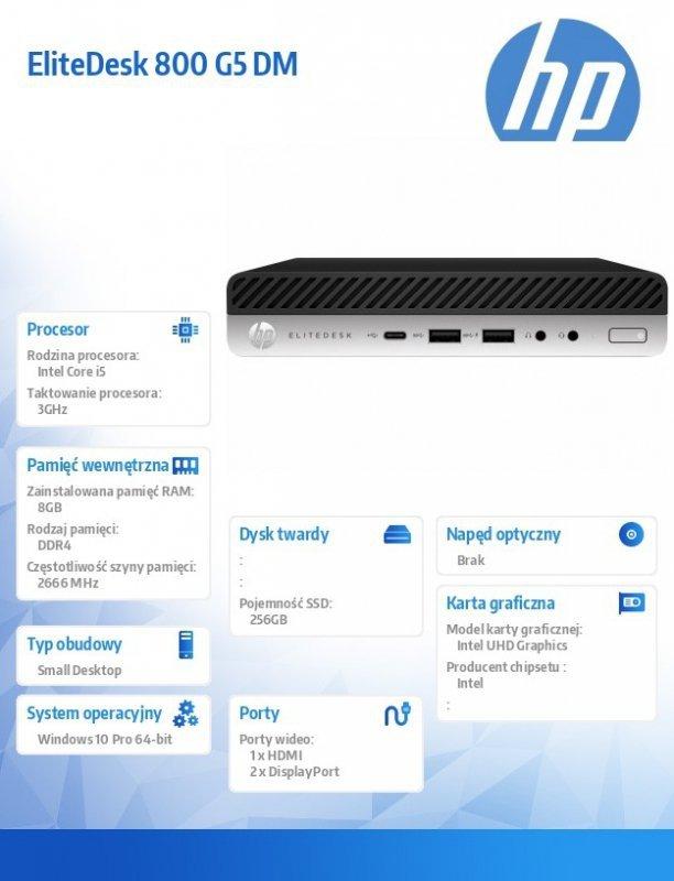 HP Inc. Komputer EliteDesk 800 G5 i5-9500 256/8GB/W10P     7PF42EA