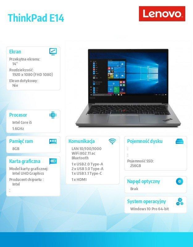 Lenovo Laptop ThinkPad E14 20RA0015PB W10Pro i5-10210U/8GB/256GB/INT/14.0 FHD/Silver/1YR CI