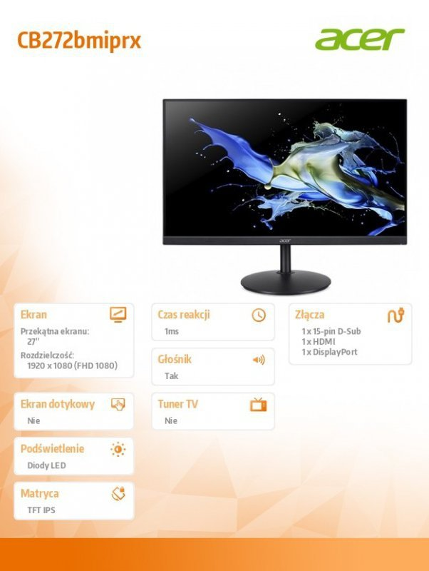 Acer Monitor 27 cali CB272bmiprx