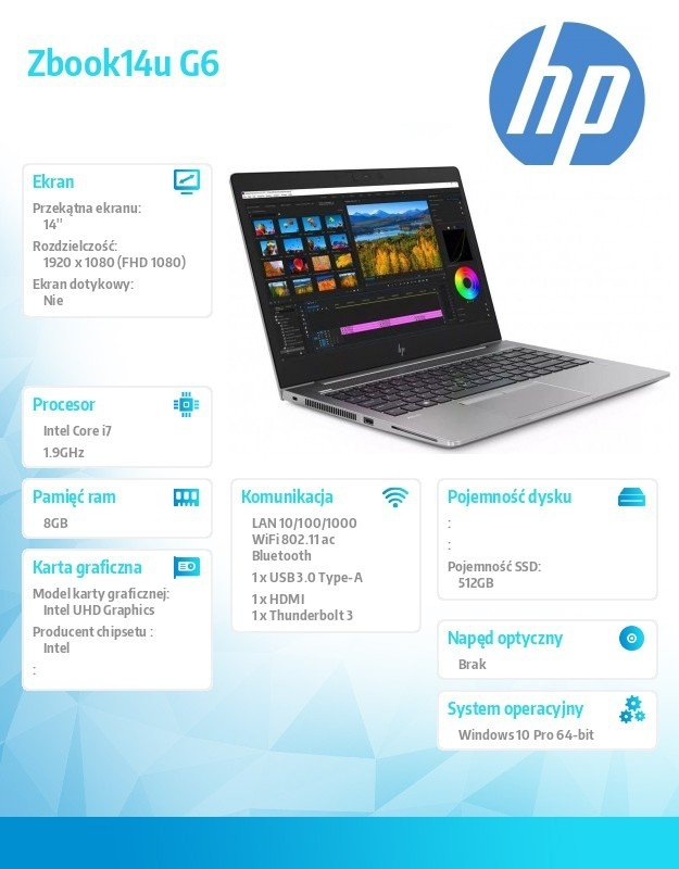 HP Inc. Notebook Zbook14u G6 i7-8665U 512/16/W10P/14 8JL80EA