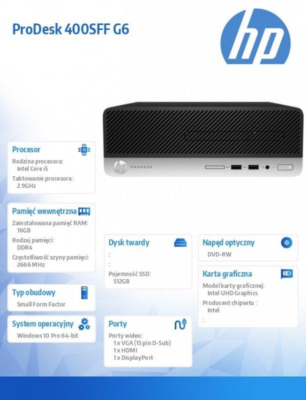 HP Inc. Komputer ProDesk 400SFF G6 i5-9400 512/16/DVD/W10P  9UT26EA