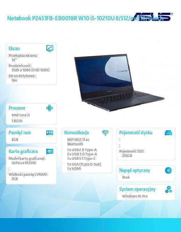 Asus Notebook ExpertBook P2451FB-EB0018R W10 i5-10210U 8/256/mx110/14inch.