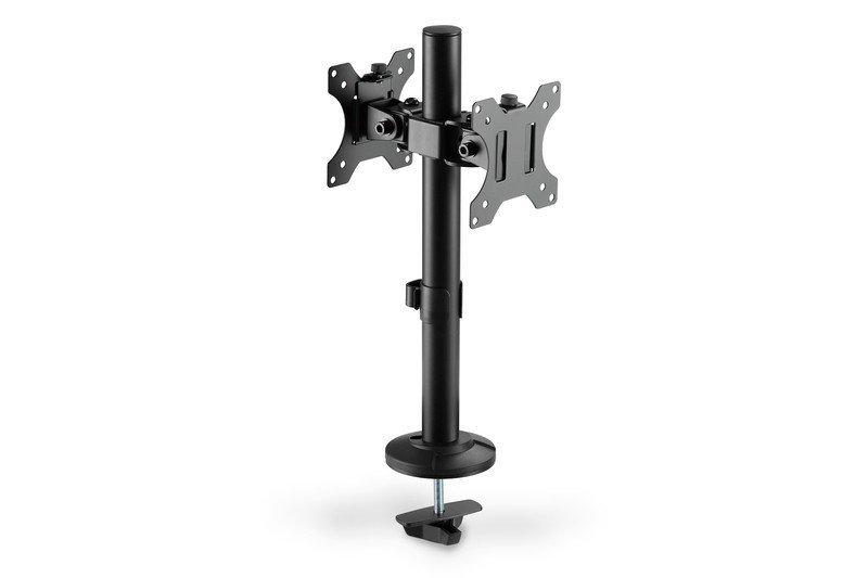 Digitus Uchwyt biurkowy kolumnowy podwójny 2xLCD max. 32 cale max. 2x 8kg uchylno-obrotowy czarny