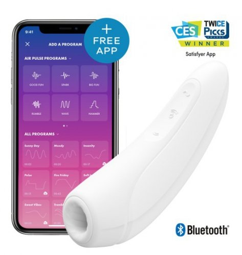 Stymulator łechtaczki Satisfyer Curvy 1+ White incl. Bluetooth and App