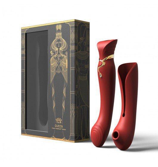 Luksusowy Wibrator Zalo Legend Queen Set G-Spot Pulse Wave Vibrator Wine Red