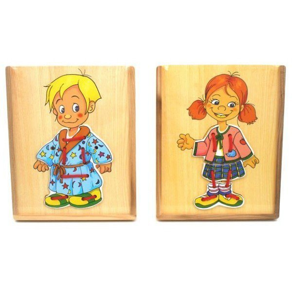 Układanka Drewniana Dzieci-ubieranie