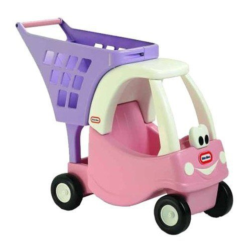 Różowy wózek z koszem na zakupy