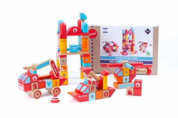 Klocki drewniane magnetyczne Straż pożarna 100 elementów