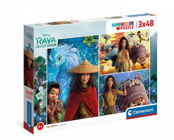 Puzzle 3x48 elementów Super Kolor Raya and The Last Dragon