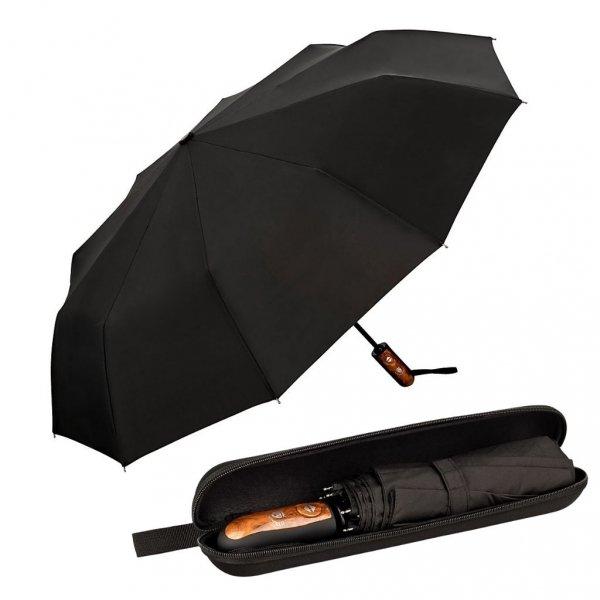 Clark czarny elegancki parasol 10-drutowy w etui Von Lilienfeld