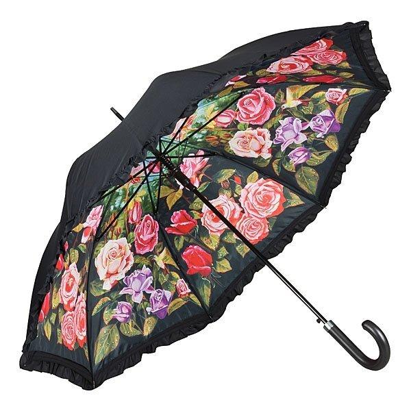 Różany ogród - parasol dwuwarstwowy ze skórzaną rączką