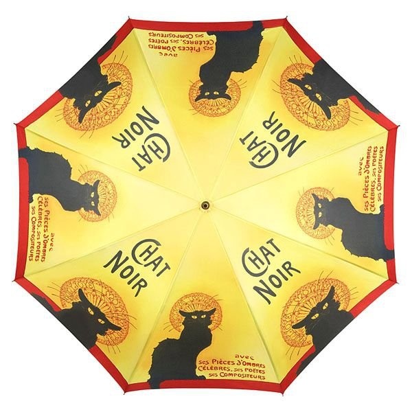 Chat Noir - Parasol długi ze skórzaną rączką