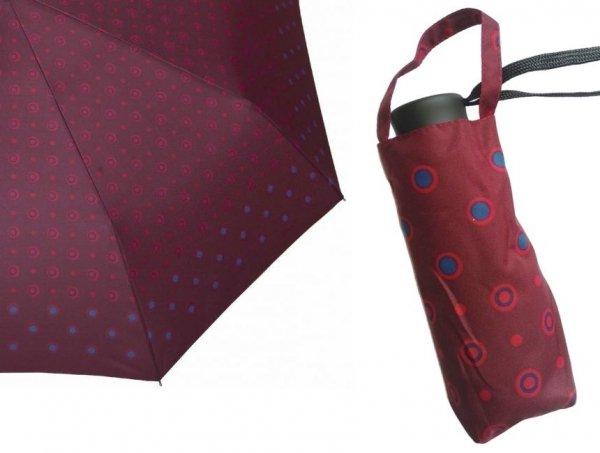 Kropki bordo mini parasolka składana DM405