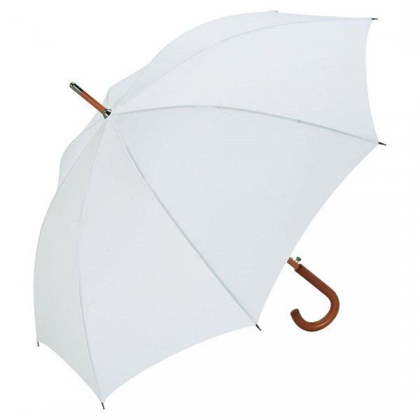 Biały elegancki parasol z drewnianym trzonkiem i rączką