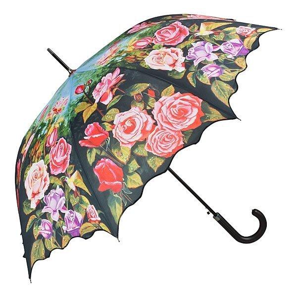 Różany ogród - długi parasol delux ze skórzaną rączką