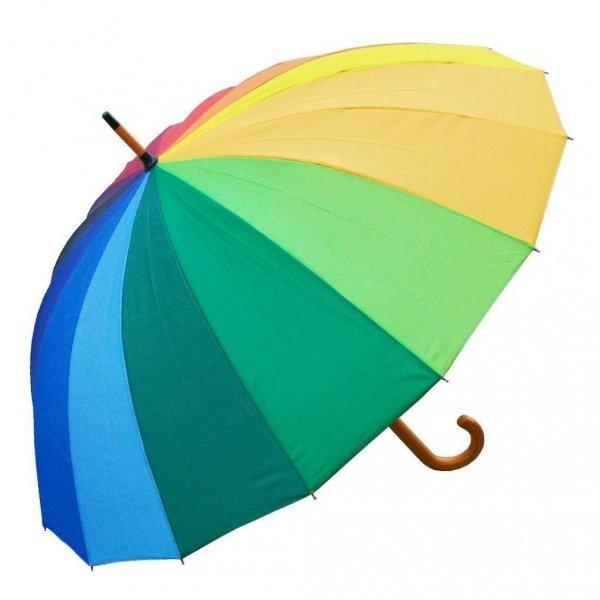 Tęcza - długi parasol z drewnianą rączką