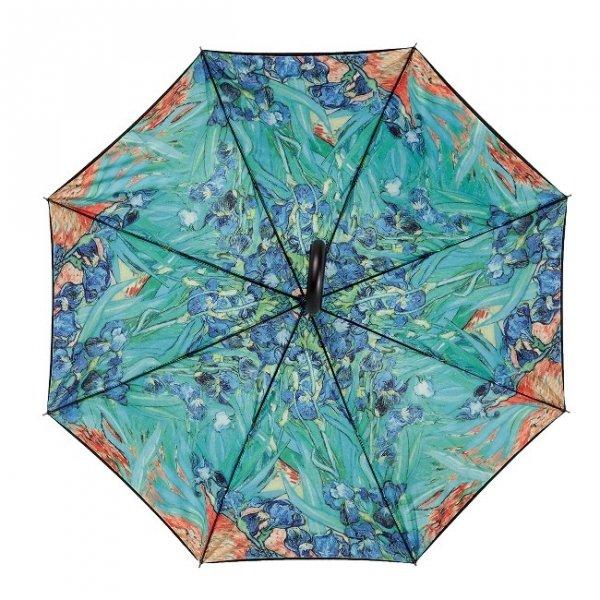 """Vincent van Gogh """"Irysy"""" - parasol z podwójną czaszą i skórzaną rączką"""