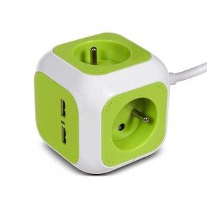 MagicCube poczwórne gniazdko prądowe GreenBlue, 2 wejścia USB, 1,4m, GB118