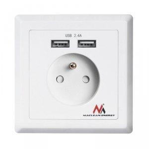 Gniazdko prądowe Maclean, Do zabudowy, 2xUSB, USB 5V, 2.4A, 86x86mm, MCE251