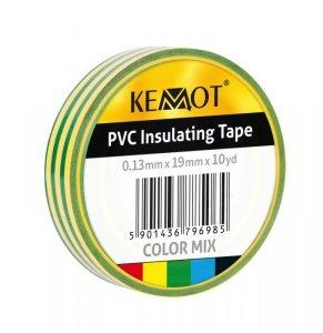 NAR0429 Taśma izolacyjna Kemot 0,13x19x10Y klejąca żółto-zielona