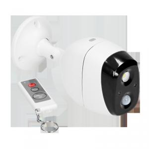 Alarm bezprzewodowy z wbudowaną syreną i sygnalizatorem świetlnym sterowany pilotem, IP44, 5m, bateryjny