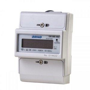 1-fazowy wskaźnik zużycia energii elektrycznej, 80A, 3 moduły, DIN TH-35mm