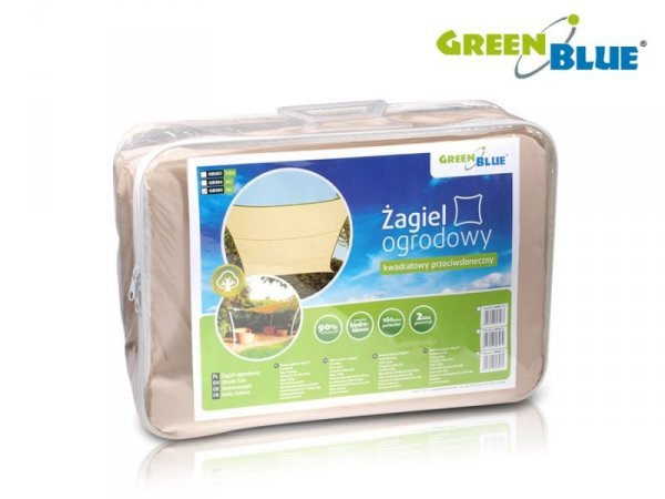 Żagiel ogrodowy zacieniacz UV poliester 3,6m kwadrat GreenBlue GB503 kremowy hydrofobowa powierzchnia