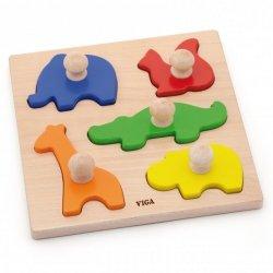 Viga Drewniane Puzzle z Pinezkami Zwierzęta